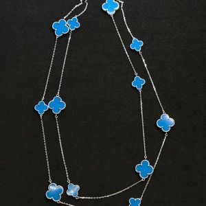"""12 Turquoise Clovers S925 Silver Long 36"""" Necklace"""